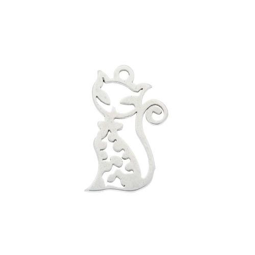 Kitty / charm / surgical steel / 16x10mm / silver / 2pcs