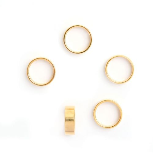 X-Gold Plated Brass Tube Ring Bead 4x12mm 10mm Hole Pk5