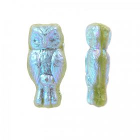 Green Iris Preciosa Czech Glass Owl Beads 7x15mm Pk20