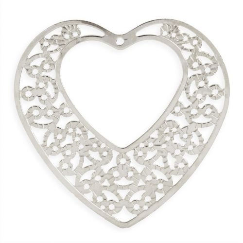 Titanium Plated Copper Filigree Heart Pendant with Cut Out Heart 43x47mm Pk1