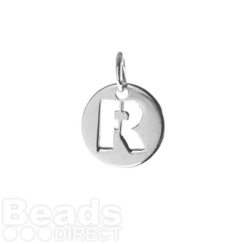 Sterling Silver 925 'R' Letter Cut Out Charm 11mm Pk1