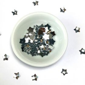 Acrylic / flat back / faceted / star / embellishment / silver / 8x1mm / ~4g