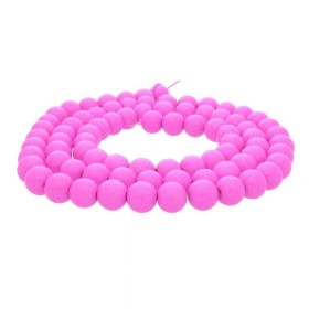 Milly™ / round / 8mm / dark neon pink / 100pcs