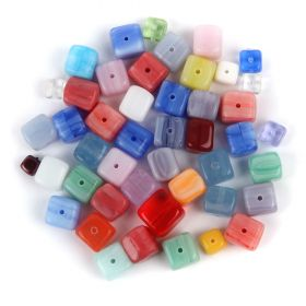 Preciosa Czech Glass Cube Bead Mix Multi Colours 50g
