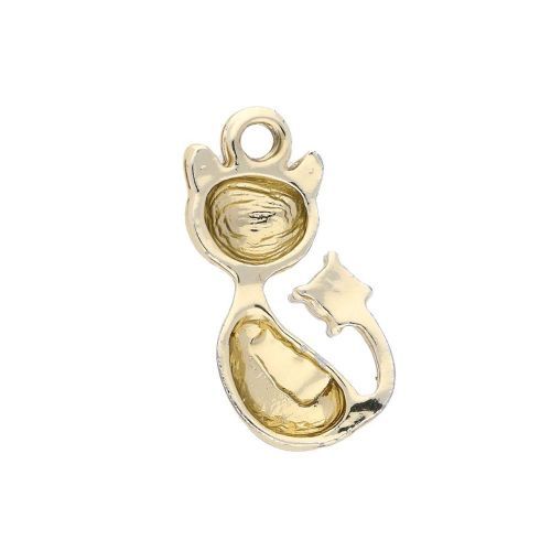 Glamm ™ Cat / charm pendant / 13 zircons / 21x11x4mm  / gold plated / 1pcs