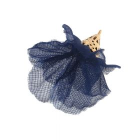 Tulle flower / with openwork tip / 30mm / Gold Plated / navy blue / 2 pcs