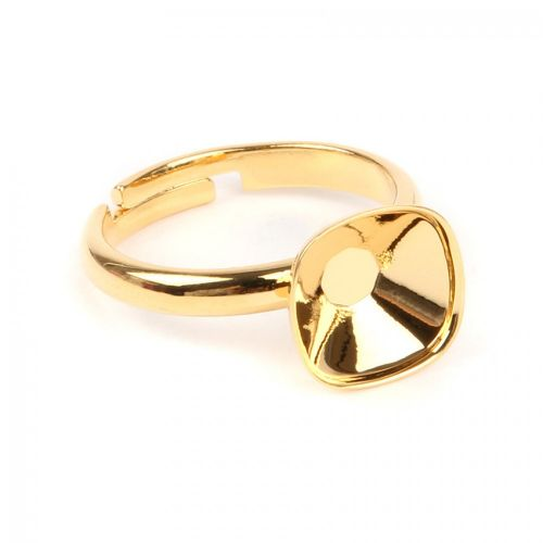 Gold Plated Adjustable Ring Base Swarovski 4470 10mm Setting