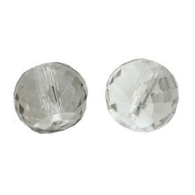 CrystaLove™ crystals / glass / faceted round / 6x8mm / silver / transparent / 6pcs