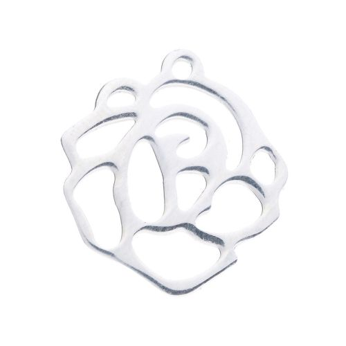 Rose / surgical steel / pendant / 16x15x1mm / silver / 1pcs