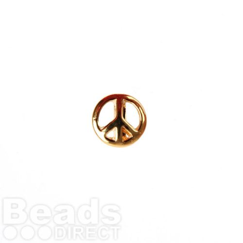 Gold Plated Slider Charm Bead Peace Sign 11mm Pk1