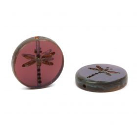 Preciosa Czech Glass Dragonfly Coin Bead Navy 17mm Pk3