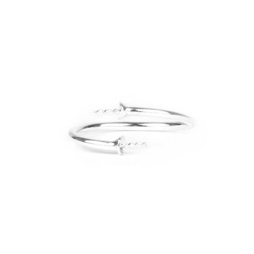 X- Sterling Silver 925 Ring Base for 2xHalf Drilled Beads Pk1