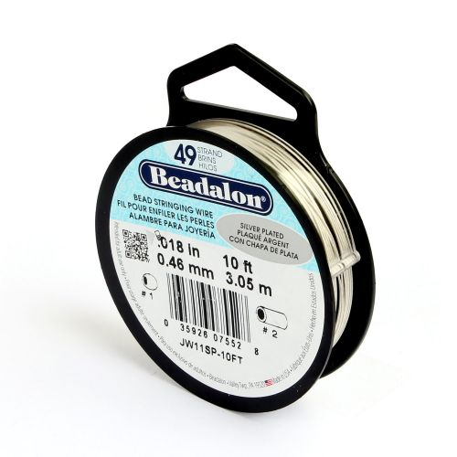 Beadalon 49 Strand Flexible Beading Wire 'Silver Plated' 0.018in 10ft