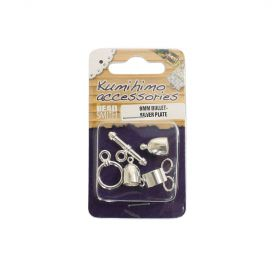 Kumihimo Findings Set 6mm Bullet Silver Plated