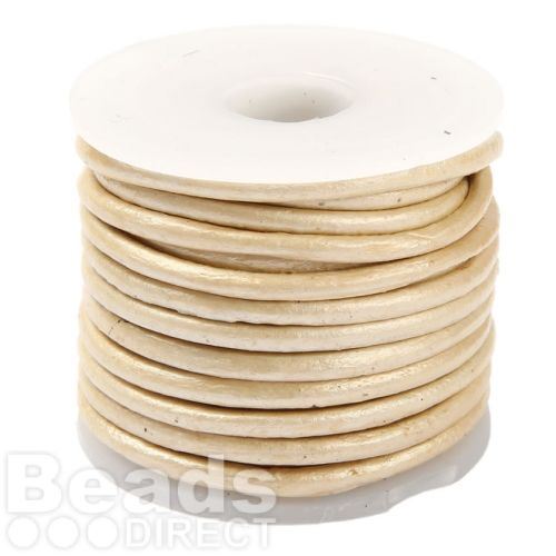 Pearl Round Leather 3mm Cord 5 Metres