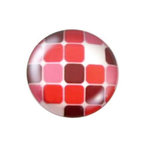 Glass cabochon with graphics K25 PT1123 / red / 25mm / 2pcs