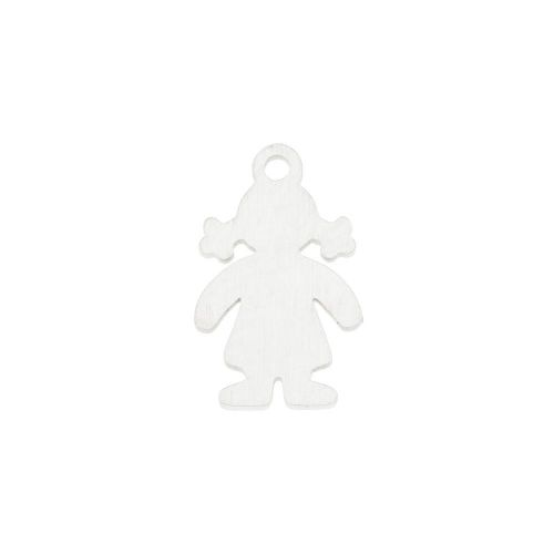 Girl / charm / surgical steel / 15x10x1mm / silver / 1pcs