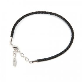 80010 Swarovski Black Leather Bracelet Base Rhodium 18cm Pk1