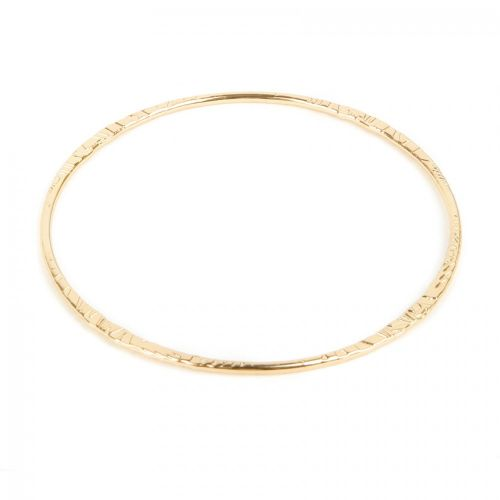 Gold Plated Etched Design Bangle 2mm Diameter-69mm Pk1