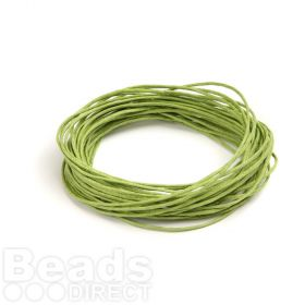 Waxed Cotton Cord 1mm Lime Green 5metres