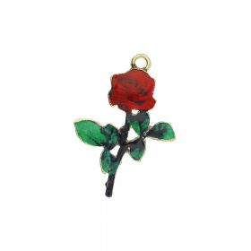 SweetCharm™ rose / charm pendant / 28x20x2mm / KC gold / 2pcs