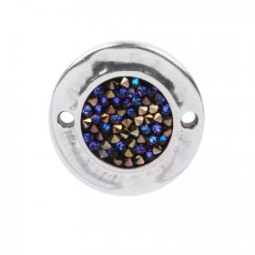 Silver Plated Zamak Connector with Swarovski Blue Rocks 26mm Pk1