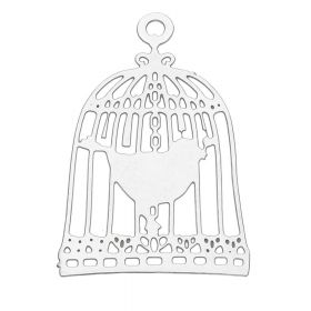 Bird in a cage / pendant filigree / surgical steel / 22x15mm / silver / 1pcs