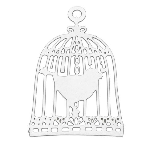 Bird in a cage / filigree pendant / surgical steel / 22x15mm / silver / 1pcs