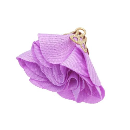 Satin Flower / with an openwork tip / 26mm / Gold Plated / light purple / 2 pcs