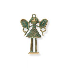 Hanging fairy / charm pendant / 36x24mm / antique bronze / green / hole 2mm / 2pcs