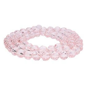 CrystaLove ™ crystals / glass / round / 12mm / pink / transparent / 48pcs