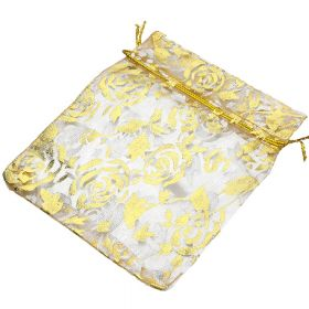Organza bag / 10x12cm / beige with gold roses / 5pcs
