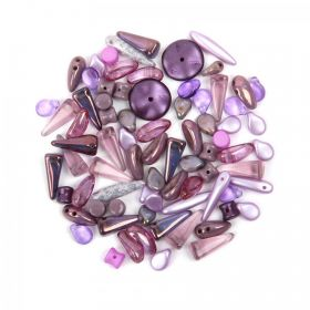 Preciosa Czech Glass Shape Mix Violet Tones 20g