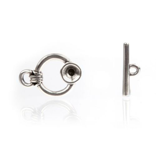Antique Silver SS39(8mm) Round Toggle Clasp 23mm Pk1