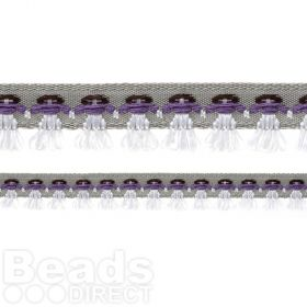 Grey Ribbon with Stitched on Purple/White Dolls 14mm 1metre