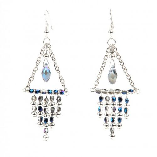 X-Blue and Silver Plated Shimmer Earrings Take a Make Break Kit - Makes 2 Pairs