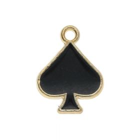 SweetCharm ™ Spade / charm pendant / 14x11x1.5mm / gold plated / black / 2pcs