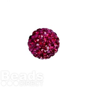 Hot Pink Crystal Premium Shamballa Fashion 10mm Round Pk1