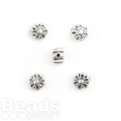 X-Antique Silver Flower Charm Beads Pack 5 7mm