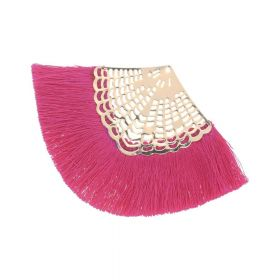Fan tassel / viscose thread / openwork base / 65mm / dark pink / 1pcs