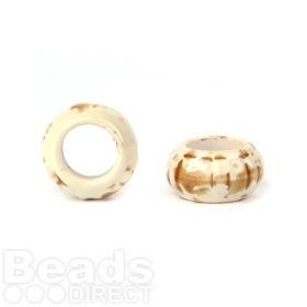 Cream and Tan Large Ceramic Rondelle Beads 13x24mm Pk3