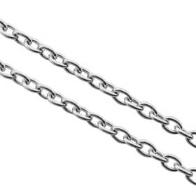 Cable chain / surgical steel / 1.5x1mm / silver / 0.3mm / 1m