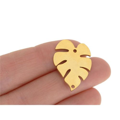 Monstera leaf / connector / surgical steel / 24x18x1mm / gold / 1pcs