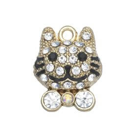 Glamm ™ Cat / charms pendant / with cubic zirconia / 17x13x6mm / gold plated / Crystal / 1pcs