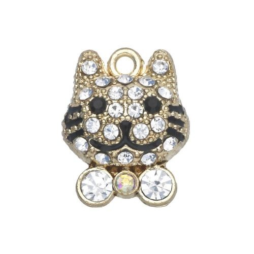Glamm ™ Cat / charm pendant / with zircons / 17x13x6mm / gold plated / Crystal / 1pcs