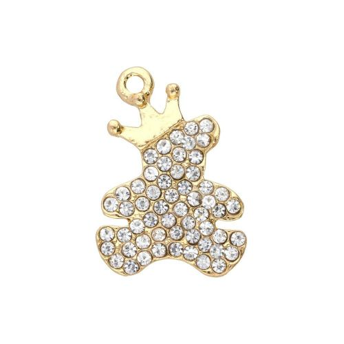 Glamm ™ Teddy bear with crown / charm pendant / with zircons / 22x15.5x2mm / gold plated / 1pcs