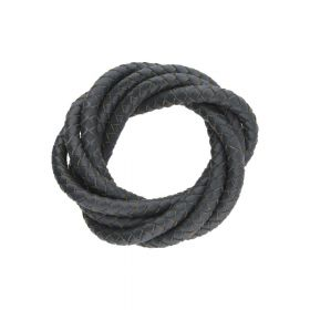 Leather cord / natural / round / braided / 5mm / steel / 1m