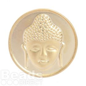 KB Matte Gold Plated 2 Sided Coin Buddha/Flower For Interchangeable Locket 32mm Pk1