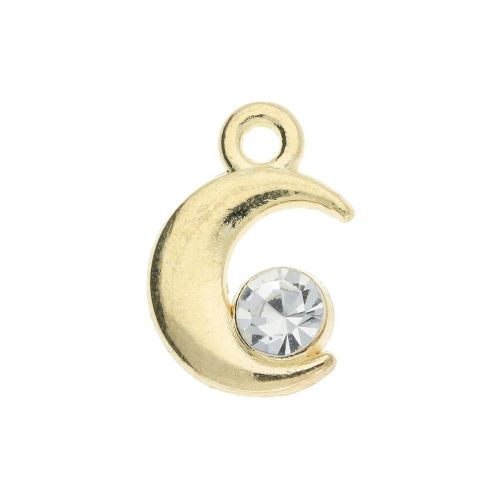 Glamm ™ Moon / charm pendant / with zircon / 13x9x4mm / gold plated / 4pcs