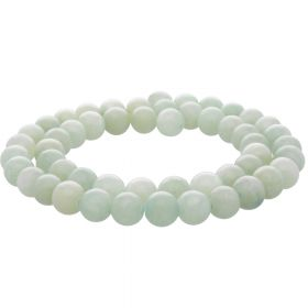 Jade / round / 8mm / light green / 48pcs
